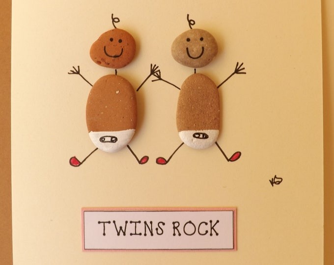 TWINS GIRLS Boys or Both Pebble Art Card