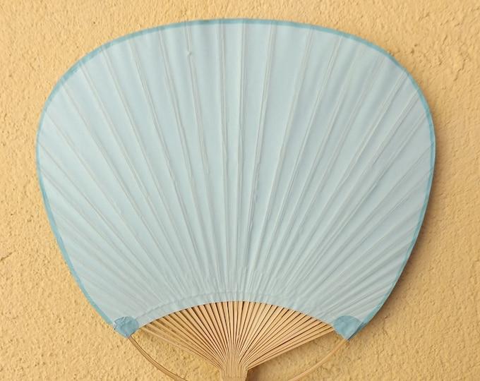 MTO Paper Bamboo Pai Pai Baby Blue ~ Hand Fan ~ Wicker Fan ~ Raffia Fan ~ Natural Fan ~ Wedding Fan ~ Colored Paper Fan