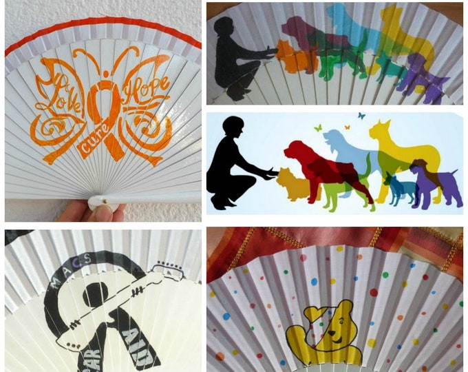 Std Hand Fan with Charity Event or Logo Custom Painted