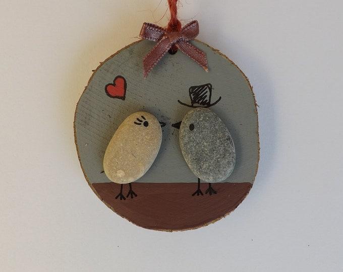 MTO Wedding Couple Pebble Art Wood Slice