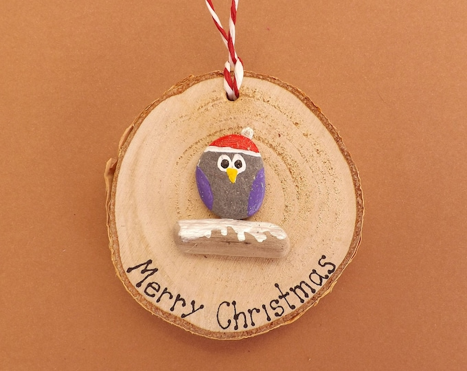 MTO Merry Christmas Owl Wood Slice
