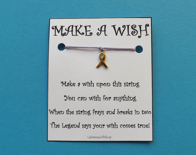 GT Small Gold Ribbon Awareness Wish Bracelets