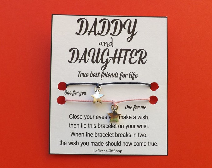 Daddy Daughter Double Wish Bracelet Star Charm