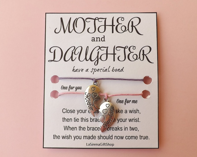 Mother Daughter Double Wish Bracelet ~  Heart Jigsaw Charm