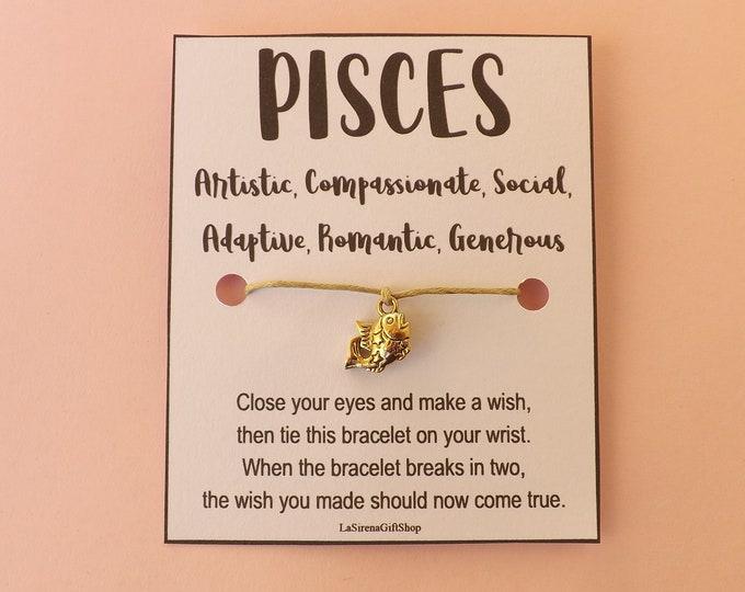 PISCES Star Sign Wish Bracelet ~ Horoscope Bracelet ~ Zodiac Bracelet ~ Zodiac Charm ~ Choose Cord Color ~ Made to Order ~ Wish String