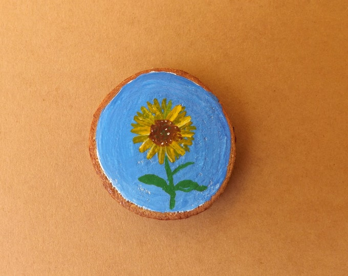 MTO Miniature Wood Slice Magnet Hand Painted SUNFLOWER Design