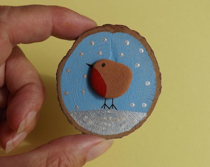 Sea Pottery Art Wood Slice with Winter Robin Scene