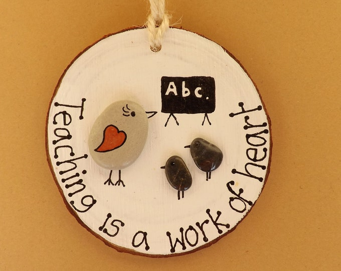 MTO Sea Pebble Art Wood Slice Teacher Teaching School Gift