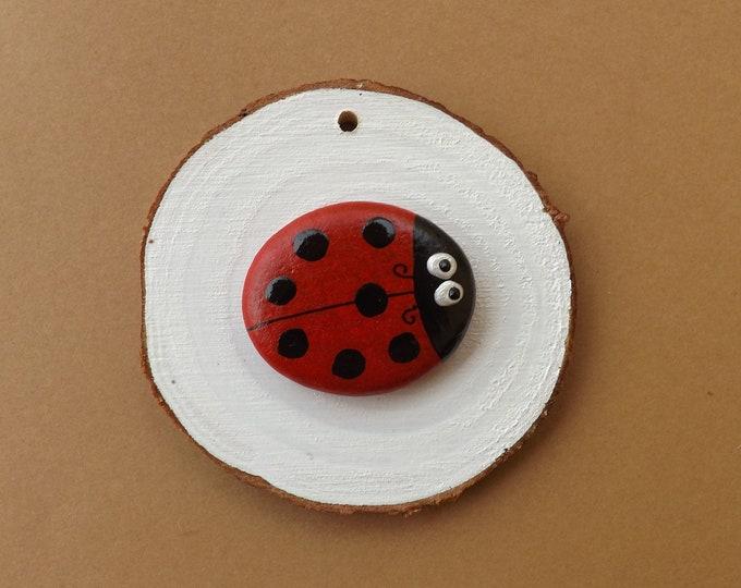 MTO Painted Pebble Art Lady Bug Bird Wood Slice
