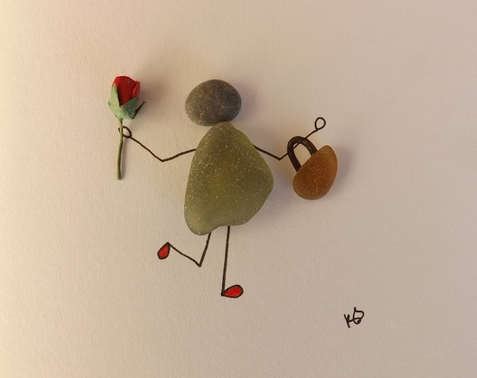 Pebble Art Card Diva with Bag and Rose