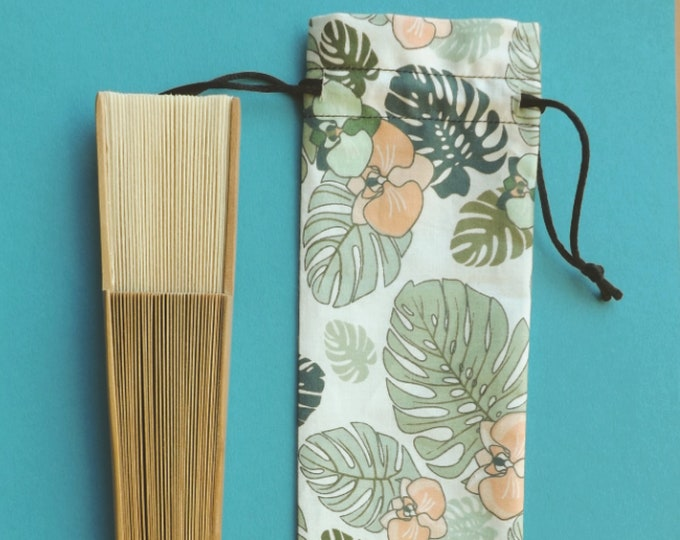 Tropical Palm Hand Fan Cover WITH or WITHOUT Any Color Standard Hand Fan