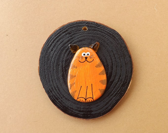 MTO Painted Pebble Art Fat Cat Wood Slice