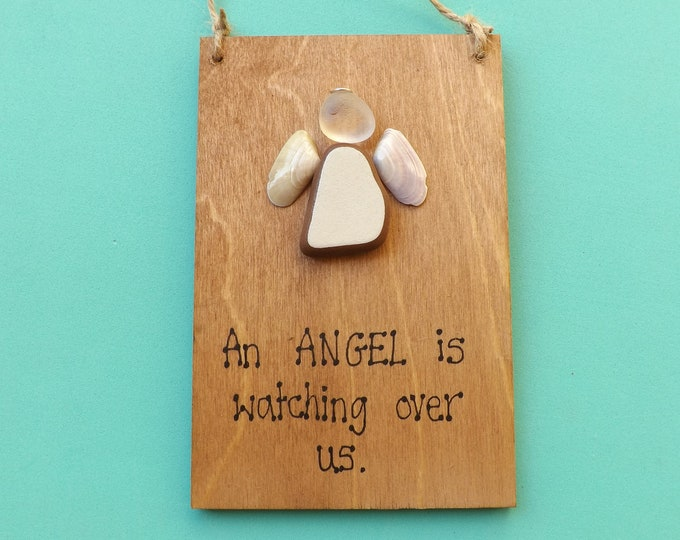 MTO An ANGEL Watches Over Us Pebble Art Painted Plaque