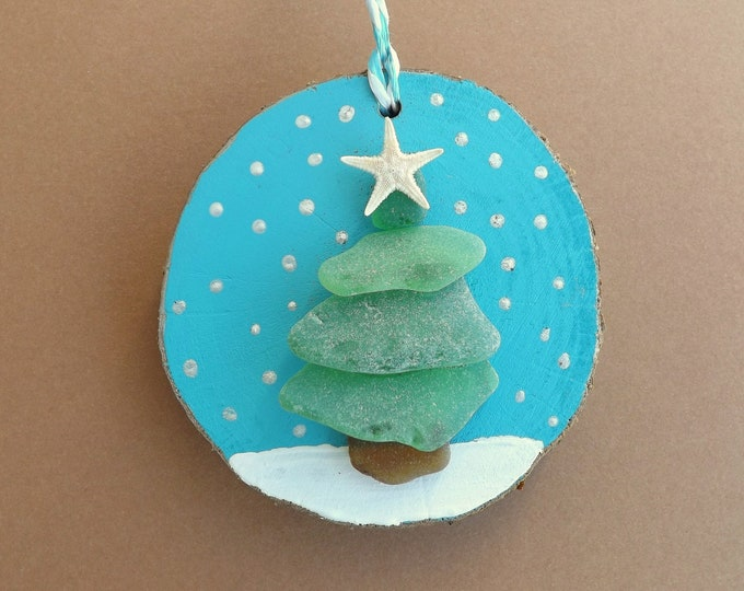 MTO Sea Glass Christmas Tree Wood Slice