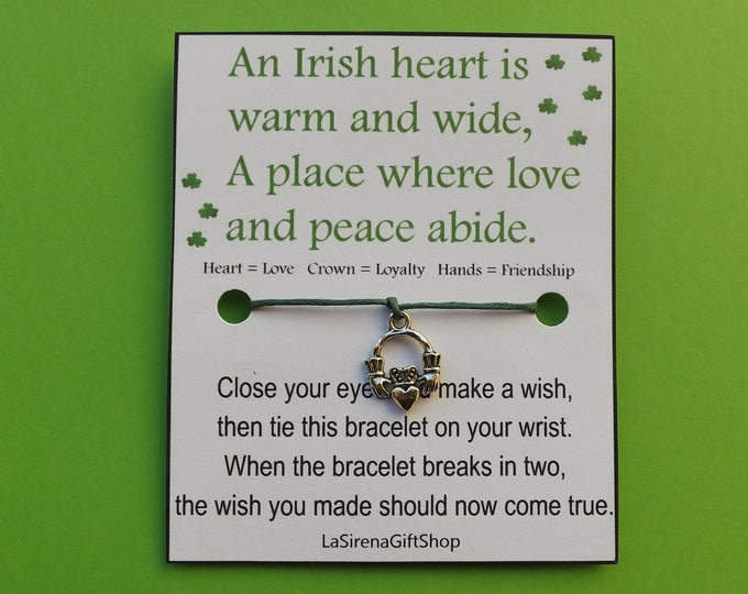 Irish Blessing Claddagh Wish Bracelet
