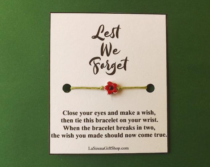 Lest We Forget Poppy Remembrance Wish Bracelet