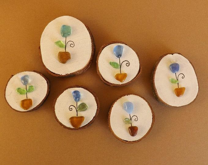 Miniature Wood Slice Magnet FLOWER Pebble Art CHOOSE