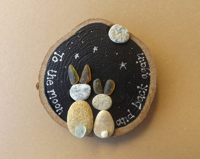 Sea Pebble Art Wood Slice Rabbits Moon