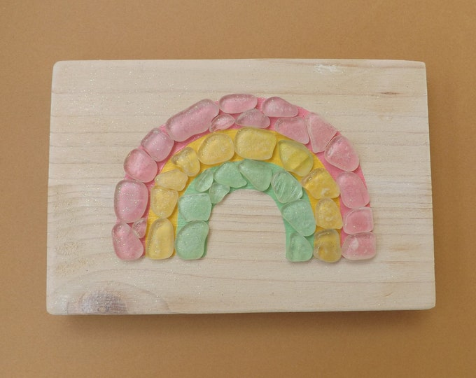 Pastel Rainbow Sea Glass Mosaic on Wood Block