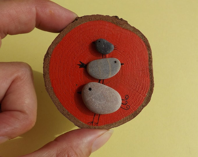 Sea Pebble Art Wood Slice with Stacking Birds