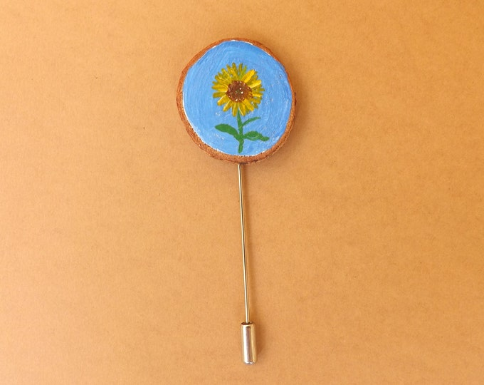 MTO Miniature Wood Slice BOUTONNIERE Hand Painted SUNFLOWER Design