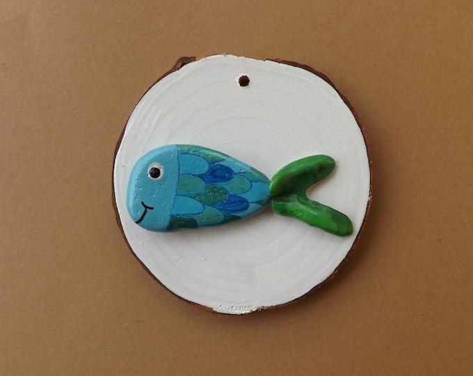 MTO Painted Pebble Art Fish Wood Slice