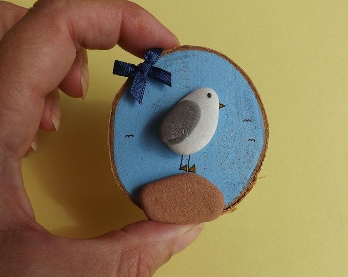 Sea Pebble Art Wood Slice Seagull