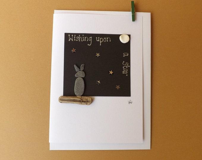 Pebble Art Card Sea Glass BUNNY Wishing Upon A Star