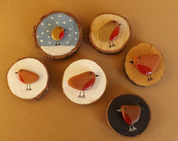 Miniature Wood Slice Magnet ROBIN Pebble Art CHOOSE