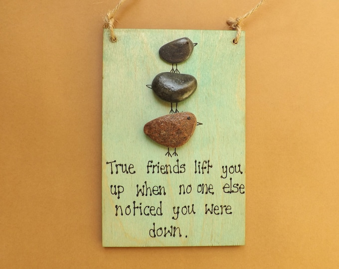 MTO Stacking Birds Friends Pebble Art Painted Plaque