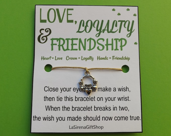Love Loyalty Friendship Claddagh Wish Bracelet