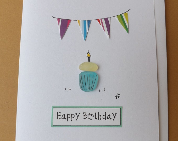 Pebble Art Card Cupcake Candle Bunting Greetings Card