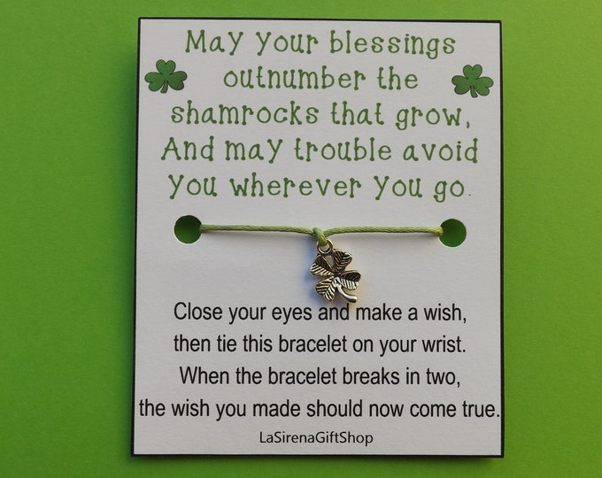 Irish Blessing Shamrock Wish Bracelet