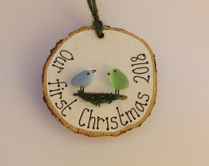 MTO Our First Christmas Birdie Couples Wood Slice