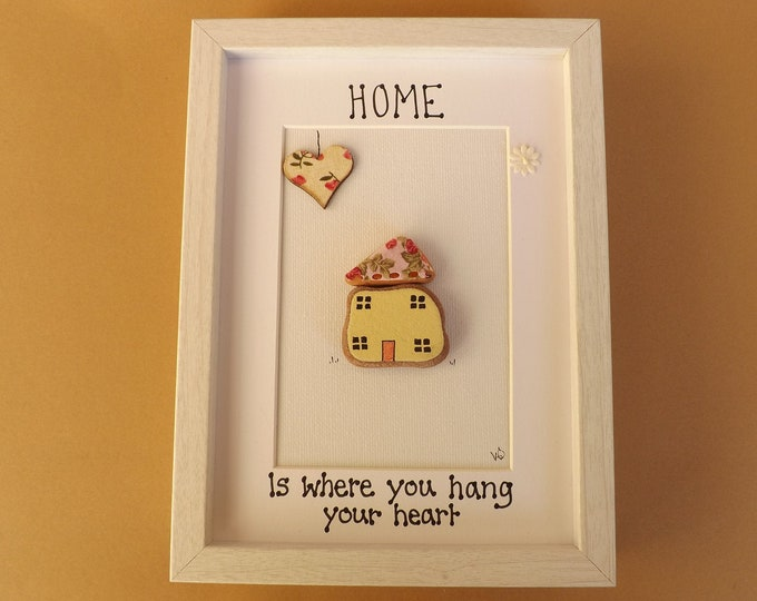 Home Where you Hang Your Heart Sea Glass Pebble Art Picture
