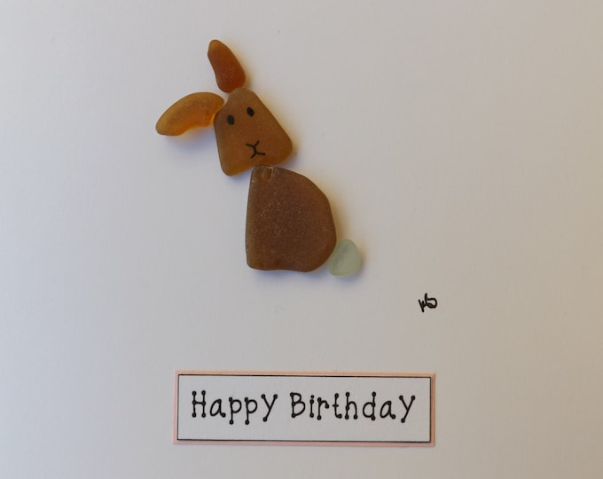 Pebble Art Sea Glass Rabbit Greetings Card