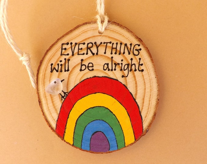 MTO Sea Glass Bird Rainbow Natural Wood Slice Quote