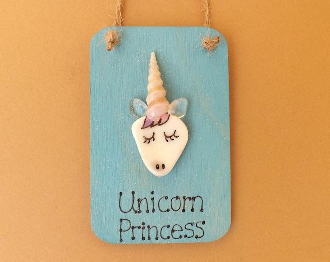 MTO UNICORN Princess Pebble Sea Glass Art Mini Wood Plaque