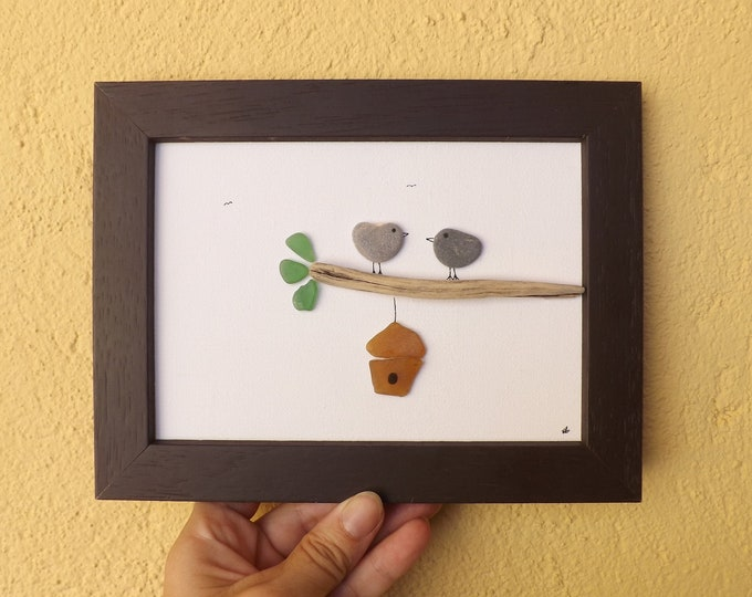 MTO BIRDHOUSE Birdies Nest Sea Glass Pebble Art Picture
