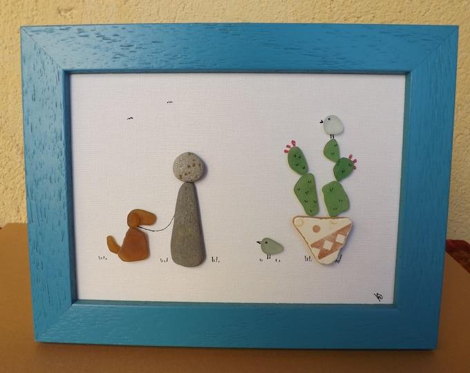 MTO Cactus, Birdies, Dog Sea Glass Art Framed