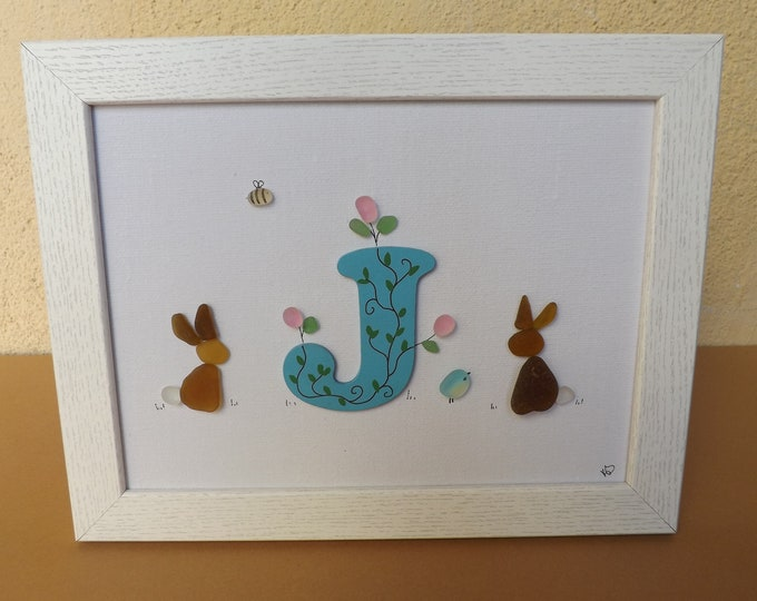 MTO Alphabet Initial Letter Sea Glass Pebble Art Picture