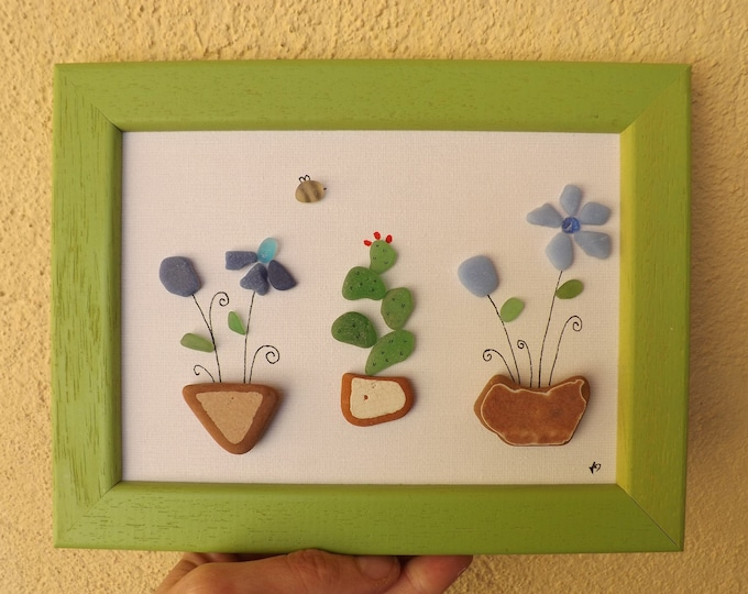 MTO Cactus and Flowers Sea Glass Art Framed