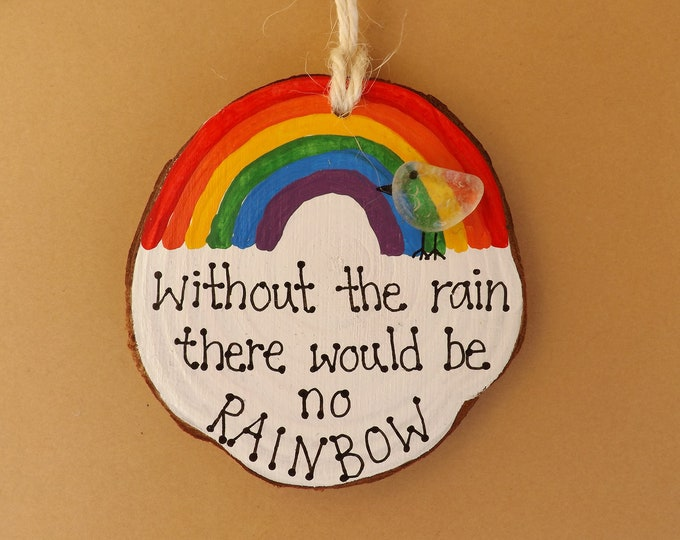 MTO Sea Glass Bird Rainbow Painted Wood Slice Quote