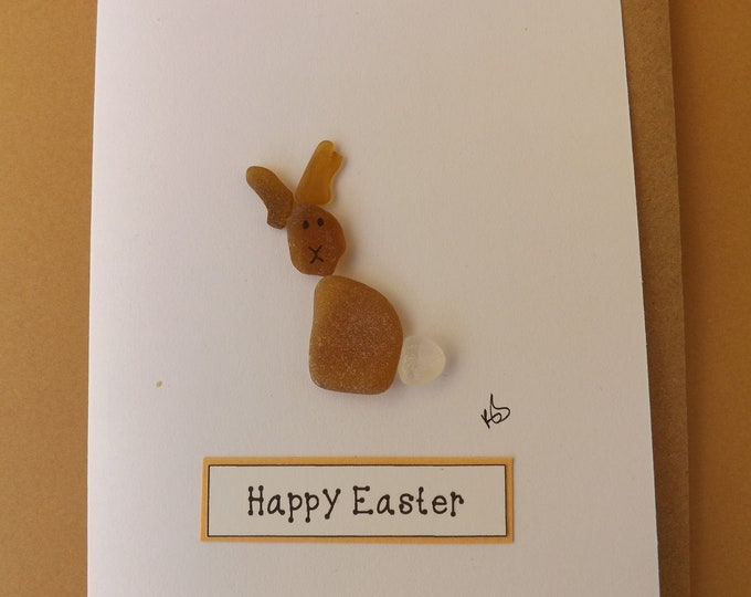 MTO Pebble Art Easter Bunny Greetings Card