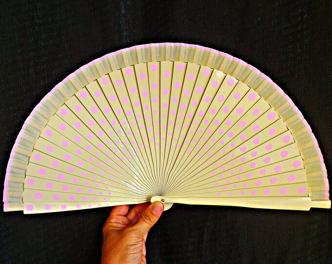 MTO Std Polka Dot Hand Fan ANY Color Combo