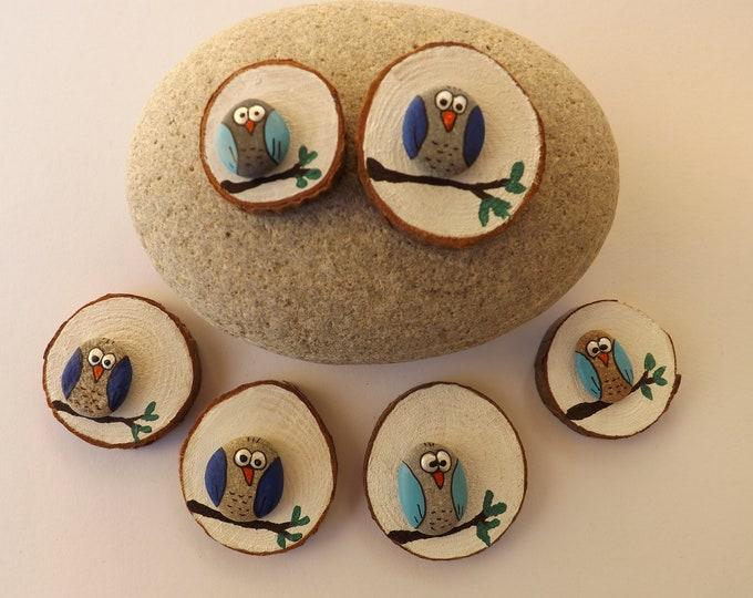Miniature Wood Slice Magnet Pebble Art Owl