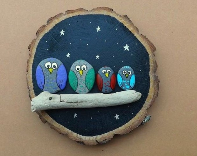 MTO LARGE Night Owl Family Group Pebble Art Wood Slice