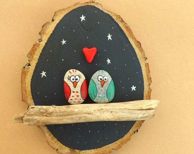 MTO LARGE Love Owl Night Scene Pebble Art Wood Slice