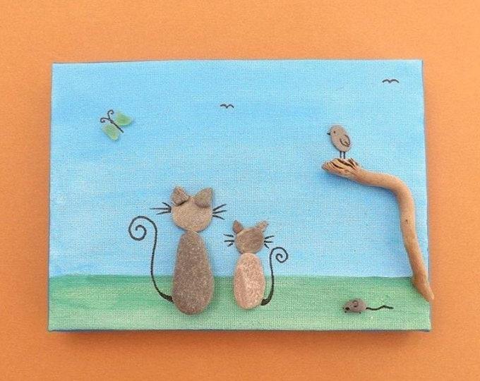 MTO CAT Scene Beach Art Canvas