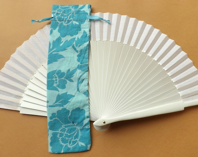 Blue Floral Hand Fan Cover WITH or WITHOUT Any Color Standard Hand Fan
